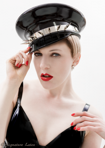 Latex spiked military hat